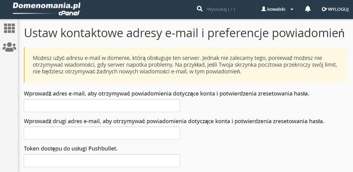 Ustawienia adresów e-mail oraz preferencji wysyłanych powiadomień przez cPanel.