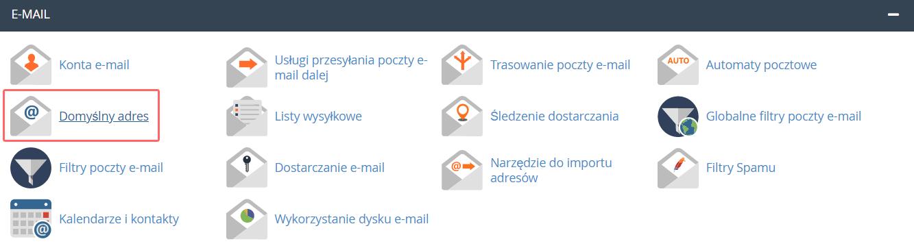 Aby ustawić konto typu catch-all w cPanel kliknij opcję: Domyślny adres.