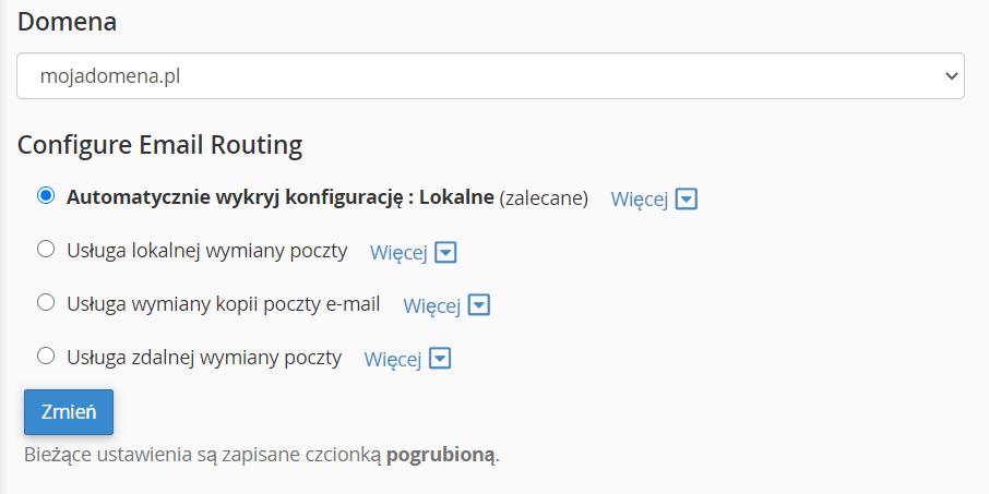 Formularz ustawień routing poczty e-mail dla domeny w cPanel.