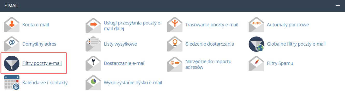 Jak utworzyć filtry (reguły) poczty e-mail w cPanel?
