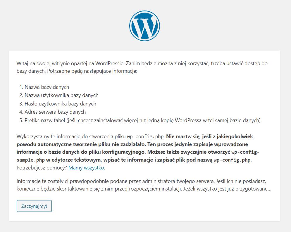 Kliknij przycisk: Zaczynajmy!, aby rozpocząć instalacje systemu WordPress na hostingu.