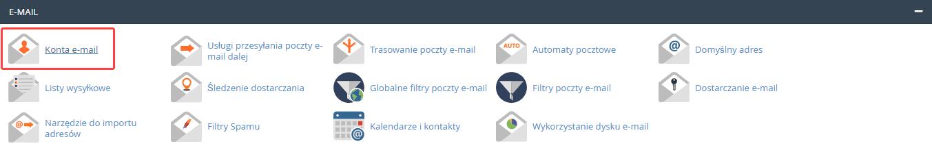 W cPanel znajdź sekcję: E-mail i kliknij opcję: Konta e-mail.