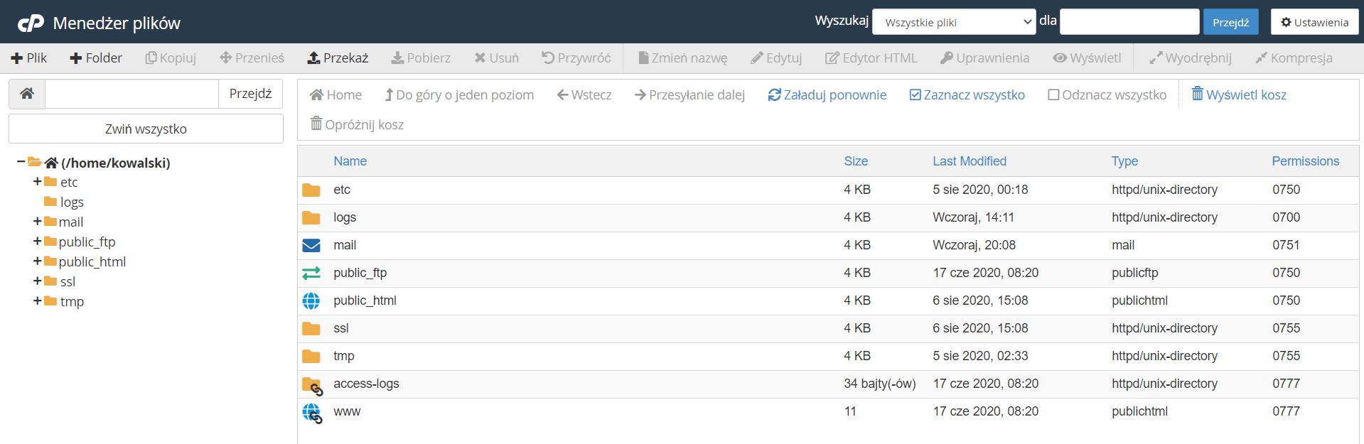 Jak włączyć wyświetlanie ukrytych plików w menadżerze plików w cPanel?