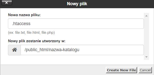 Podaj nazwę pliku .htaccess i kliknij przycisk: Create new file.