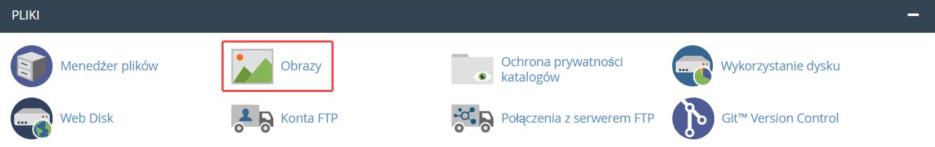 Obrazy cPanel w sekcji Pliki służy do zarządzania plikami graficznymi znajdującymi się na hostingu.
