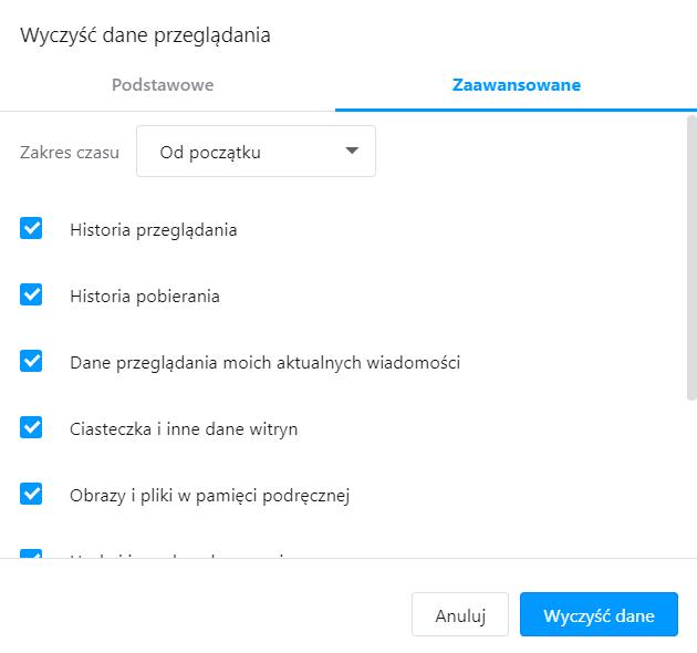 W oknie: Wyczyść dane przeglądania zaznacz jakie dane podręczne chcesz usunąć z przeglądarki Opera.