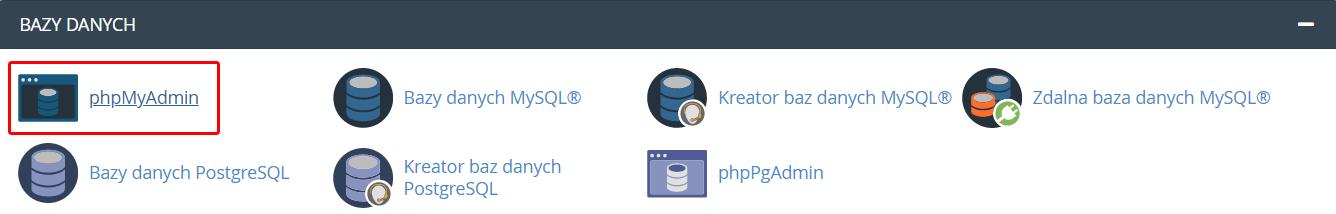 Po zalogowaniu do cPanel znajdź sekcję: Bazy danych i kliknij opcję: phpMyAdmin