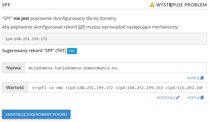 Sugerowana wartość rekordu SPF dla domeny w cPanel.