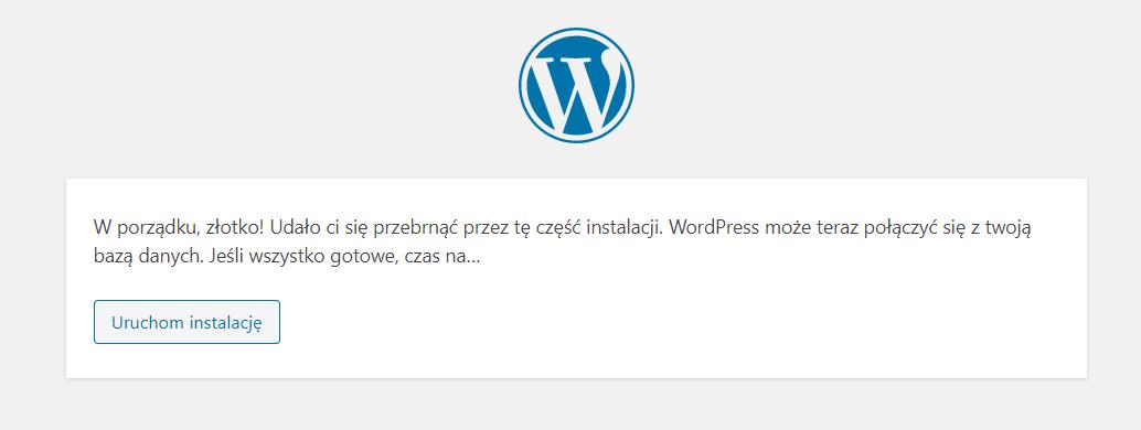 Aby rozpocząć instalację WordPress, kliknij przycisk: Uruchom instalację.