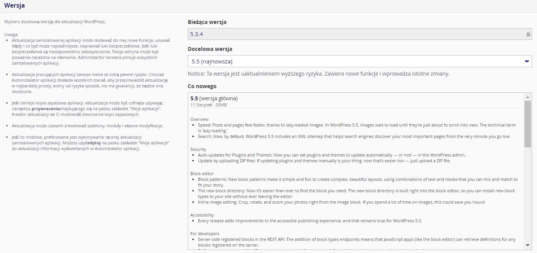 W sekcji: Wersja wybierz docelową wersję, do której chcesz zaktualizować swojego WordPressa.