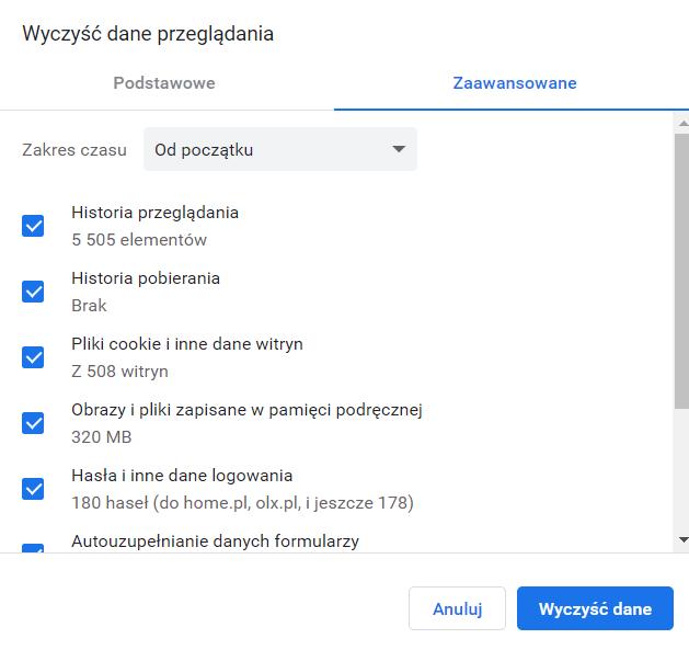 Wyczyść dane przeglądania w przeglądarce: Chrome. Zaznacz co chcesz usunąć oraz z jakiego okresu czasu.