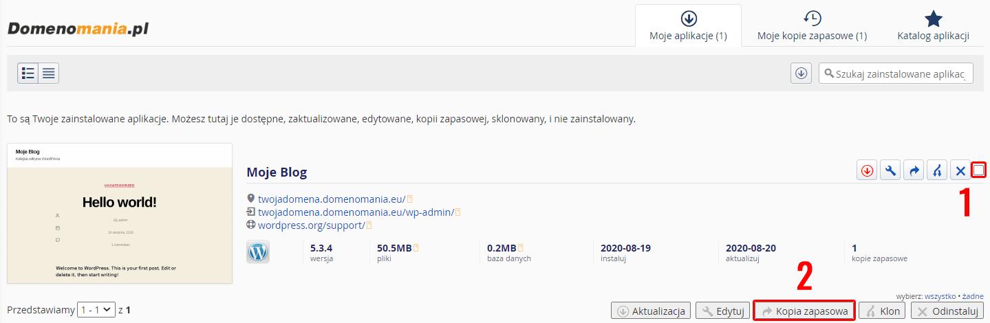 W zakładce: Moje aplikacje znajdź i zaznacz aplikację, dla której chcesz wykonać kopię i kliknij: Kopia zapasowa.