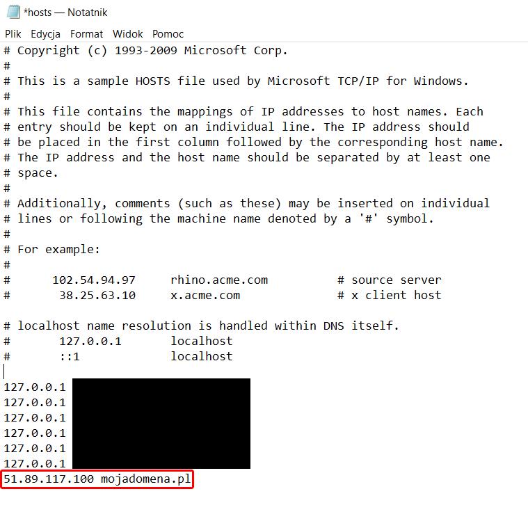 Konfiguracja pliku hosts (przekierowanie domeny)