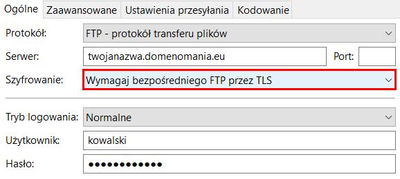 Jak połączyć się z serwerem przez FTPS?