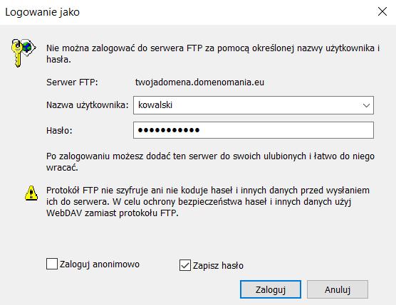 Wpisz nazwę użytkownika i hasło do serwera FTP. Wybierz czy chcesz zapisać hasło i kliknij: Zalogu.