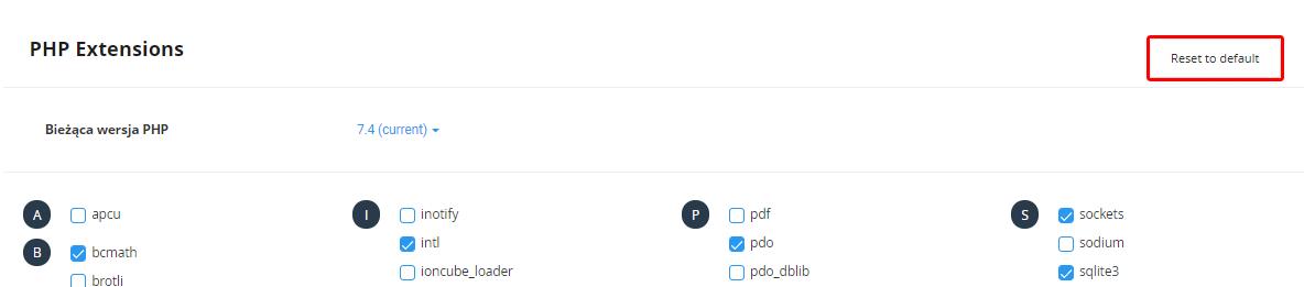 Kliknij przycisk: Reset to default, aby przywrócić domyślne ustawienia modułów PHP.
