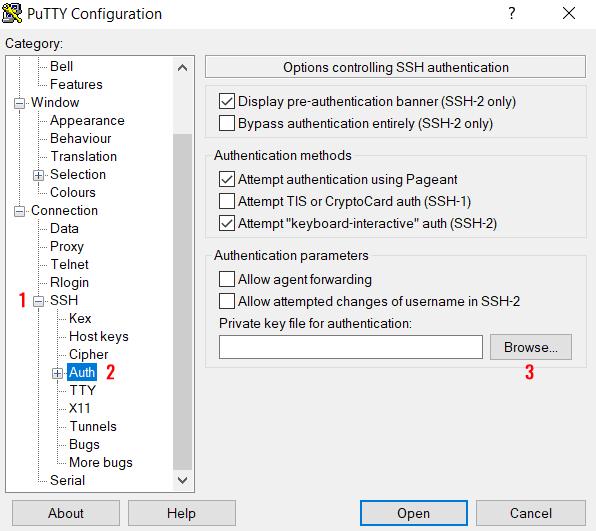 Przejdź do sekcji: SSH, następnie kliknij opcję: Auth i kliknij przycisk: Browse, aby załadować plik klucza prywatnego (RSA).