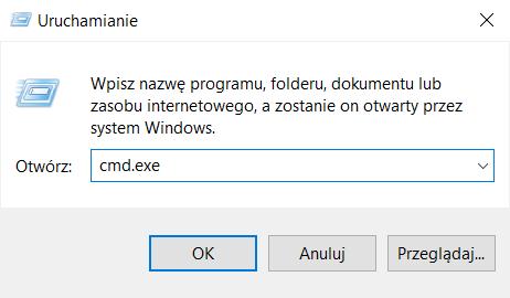 W otwartym oknie wpisz polecenie: cmd.exe i kliknij przycisk: OK, aby sprawdzić ping dla wybranego adresu