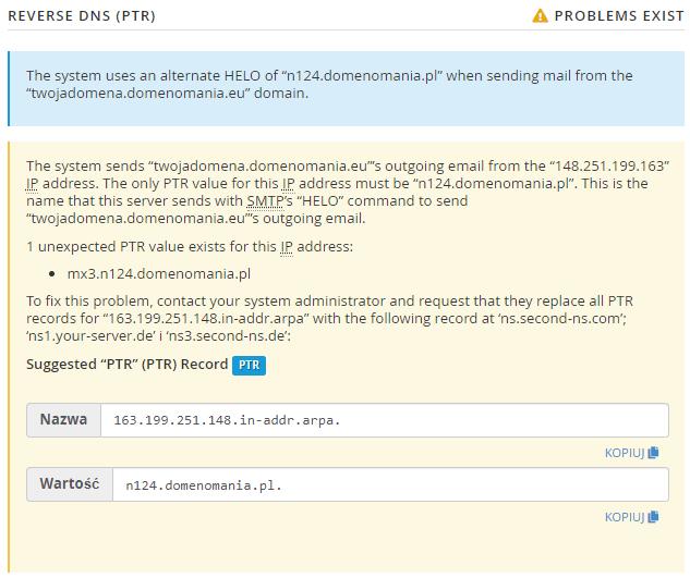 Sugestie rozwiązania problemów z rekordem PTR (revDNS) dla wybranej domeny.