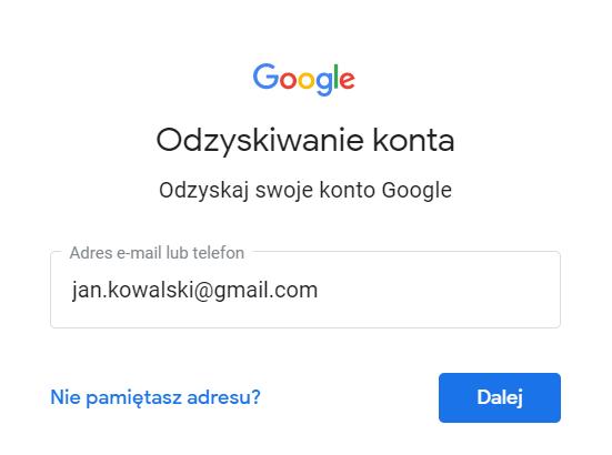 W formularzu wpisz adres e-mail, czyli login i kliknij przycisk: Dalej.
