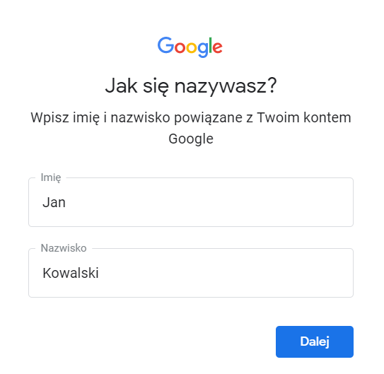 Wpisz imię i nazwisko powiązane z Twoim kontem Google, dla którego chcesz przypomnieć login.