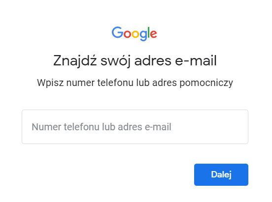 W formularzu odzyskiwania konta Google wpisz numer telefonu lub adres pomocniczy powiązane z kontem.