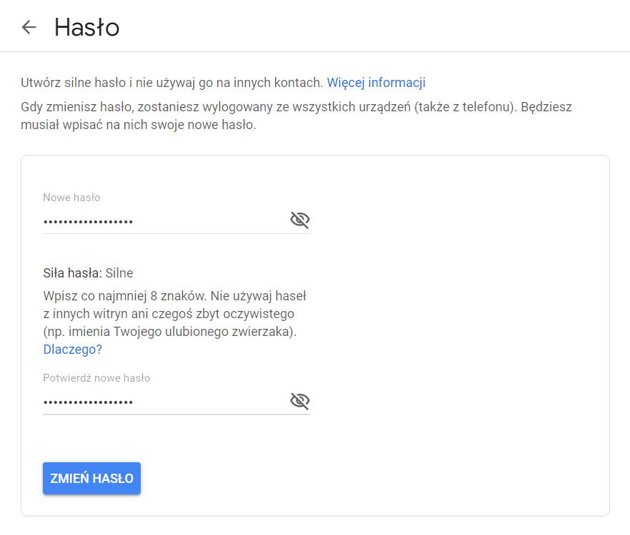 Uzupełnij formularz zmiany hasła do konta Google. Wpisz i powtórz nowe hasło dostępu.