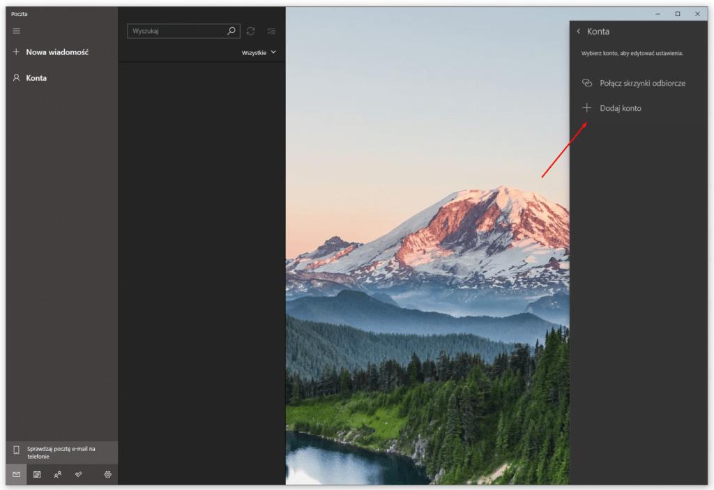 Aby skonfigurować nowe konto w Windows 10, kliknij opcję: Dodaj konto.