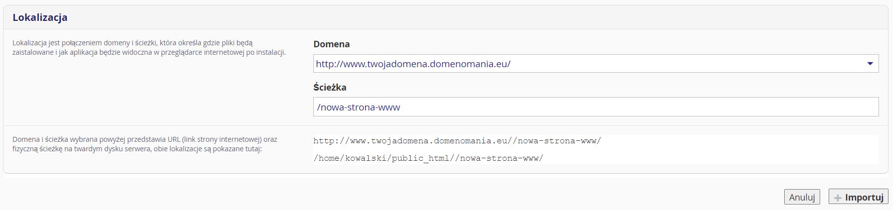 Podaj informacje o lokalizacji WordPress, którego chcesz zaimportować (domena i katalog na serwerze FTP).