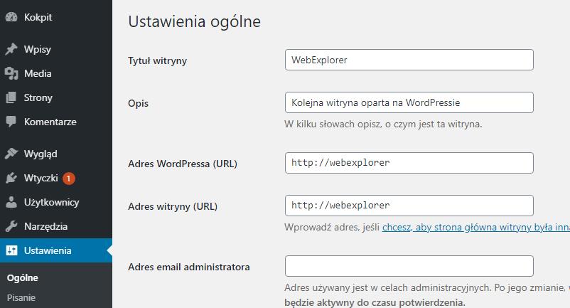 Zmiana opisu i tytułu strony WordPress