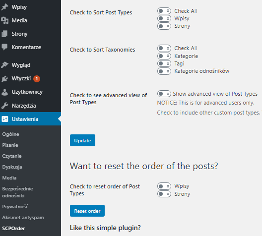 Zmiana kolejności wpisów i kategorii WordPress