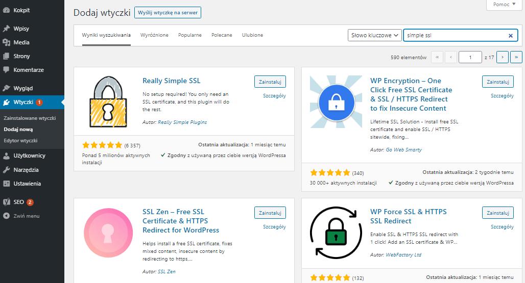 Skorzystaj z wyszukiwarki w prawym górnym rogu, aby znaleźć wtyczkę, którą chcesz zainstalować w WordPress.