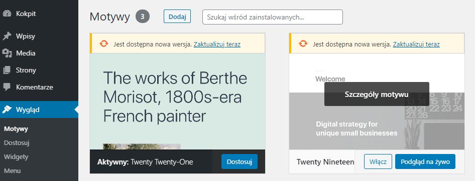 Instalacja nowego szablonu na hostingu WordPress