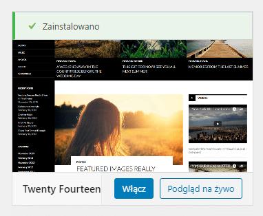 Instalacja szablonu z biblioteki WordPress lub pliku