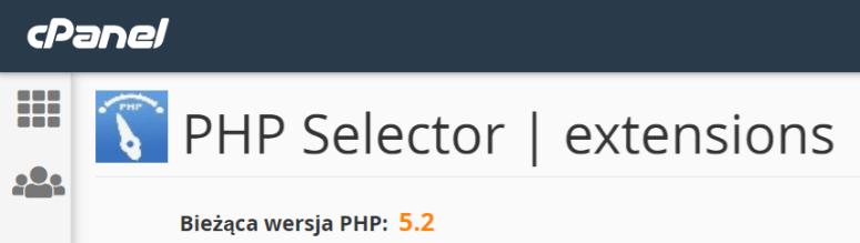 W górnej części ekranu w sekcji: Bieżąca wersja PHP możesz sprawdzić jaka jest ustawiona wersja PHP na całym hostingu.
