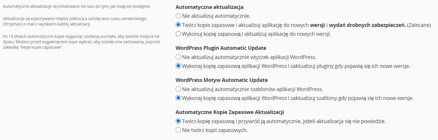Ustawienia automatycznej aktualizacji WordPress w autoinstalatorze cPanel