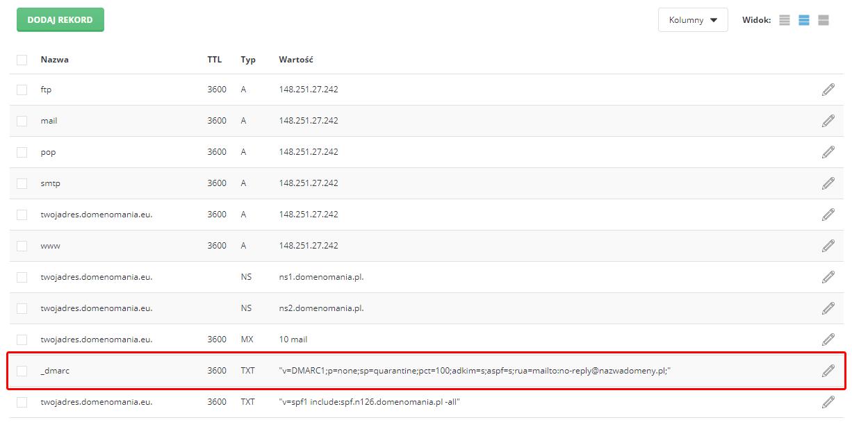 Przykład rekordu DMARC w strefie DNS domeny (panel DirectAdmin).