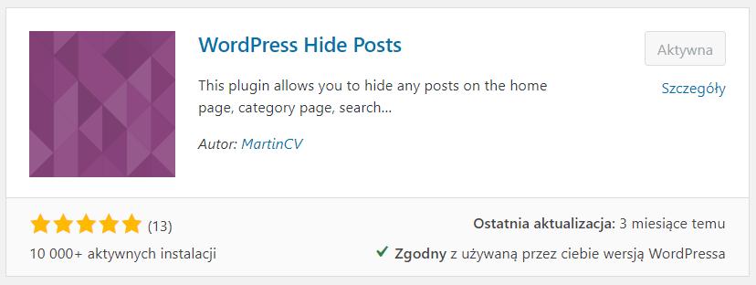 Instalacja wtyczki WordPress Hide Post - Dodaj nową wtyczkę, zainstaluj ją, aktywuj wtyczkę