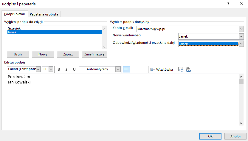 Jak ustawić podpis w Microsoft Outlook?