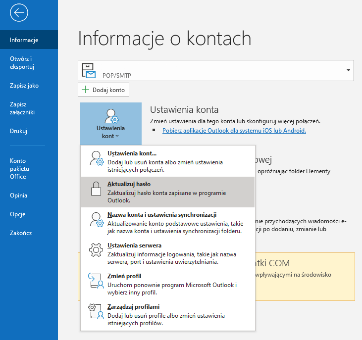 Jak zmienić hasło w Microsoft Outlook?