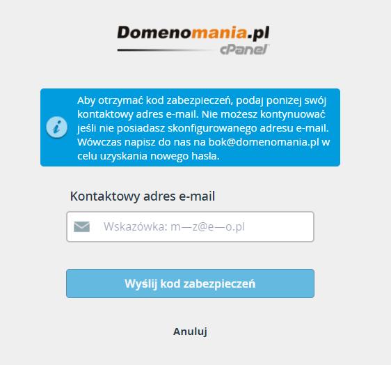 Wpisz adres e-mail podany do powiadomień w ustawieniach cPanel