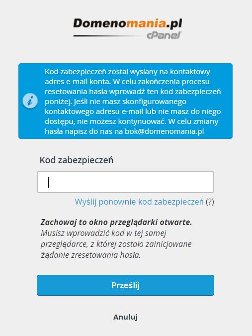 Sprawdź skrzynkę e-mail do powiadomień i wklej kod zabezpieczeń, który został na nią wysłany