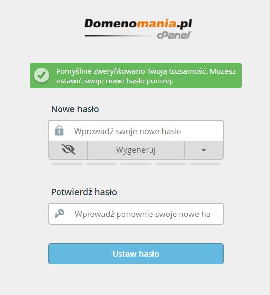 Wpisz nowe hasło dostępu dla użytkownika do cPanel i kliknij: Ustaw hasło.