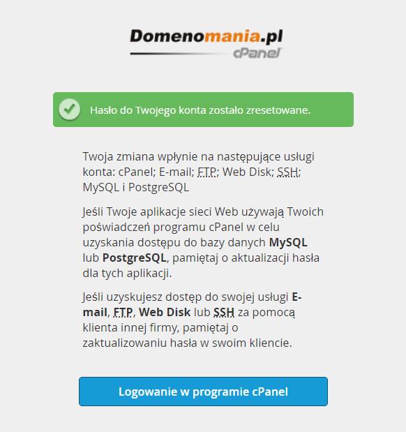 Potwierdzenie zmiany hasła dla użytkownika do cPanel.