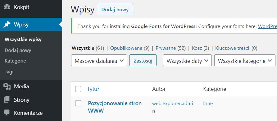 Sekcja Wpisy - Dodaj nowy wpis lub edytuj istniejący aby ukryć informacje