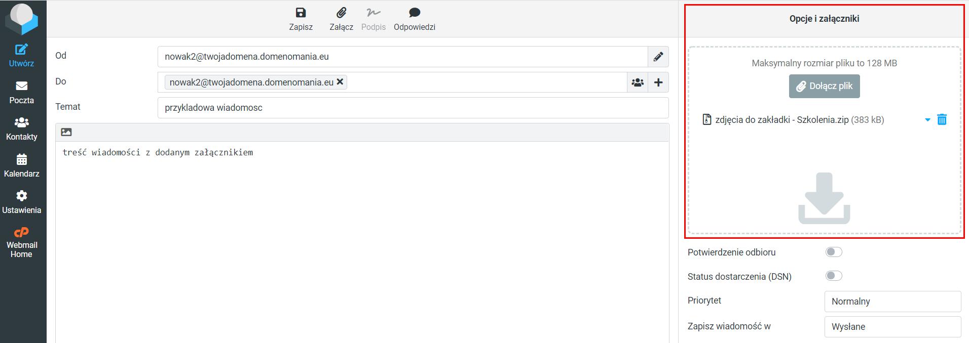 Aby dodać załącznik do wiadomości w webmail RoundCube, kliknij przycisk: Dołącz plik podczas tworzenia wiadomości.