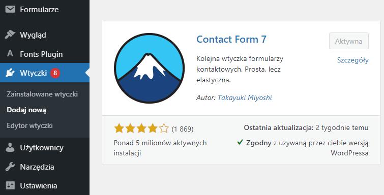 Zainstaluj i aktywuj wtyczkę Contact Form 7, aby dodawać formularze kontaktowe do swojej strony WWW