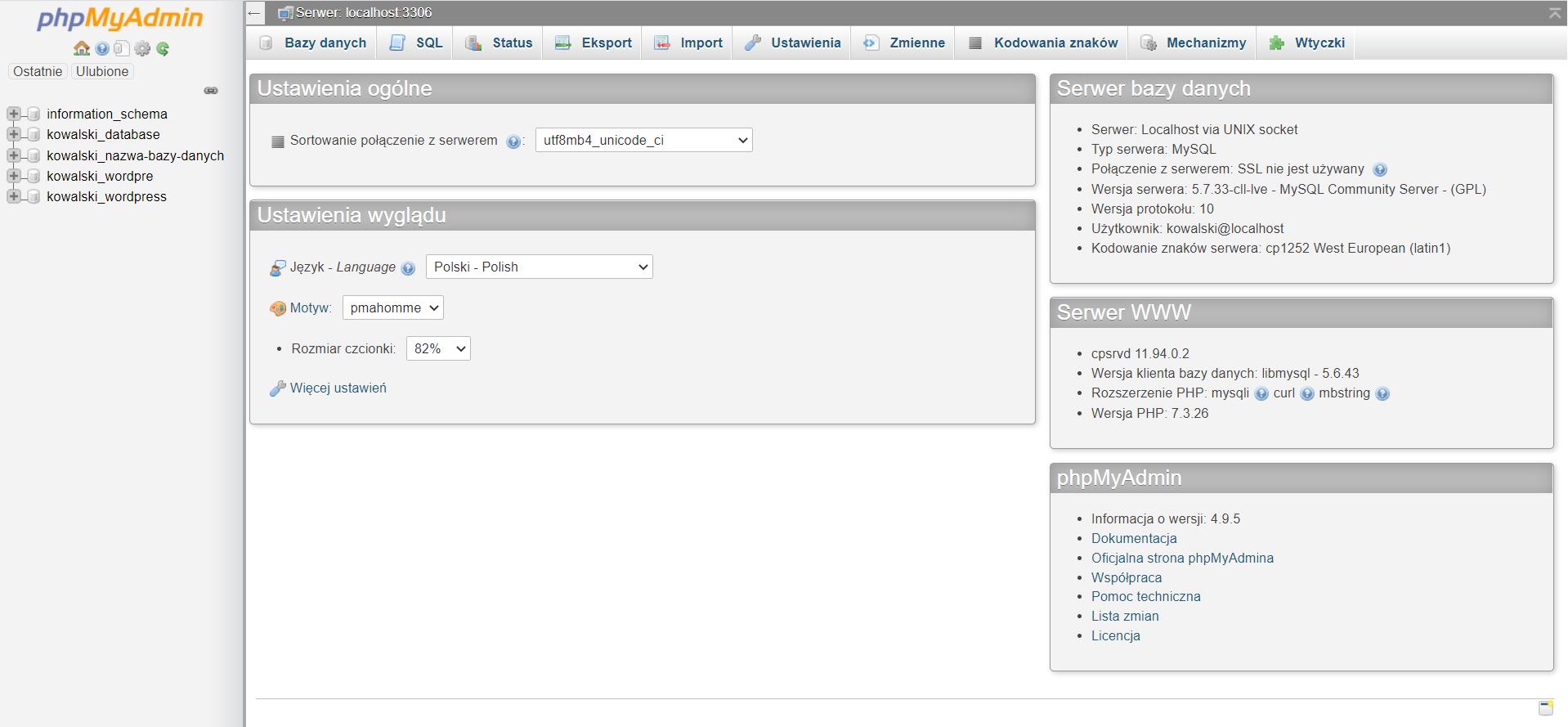 Ekran główny po zalogowaniu do phpMyAdmin