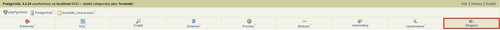 W prawej górnej części ekranu kliknij opcję: Eksport, aby wykonać eksport bazy danych PgSQL