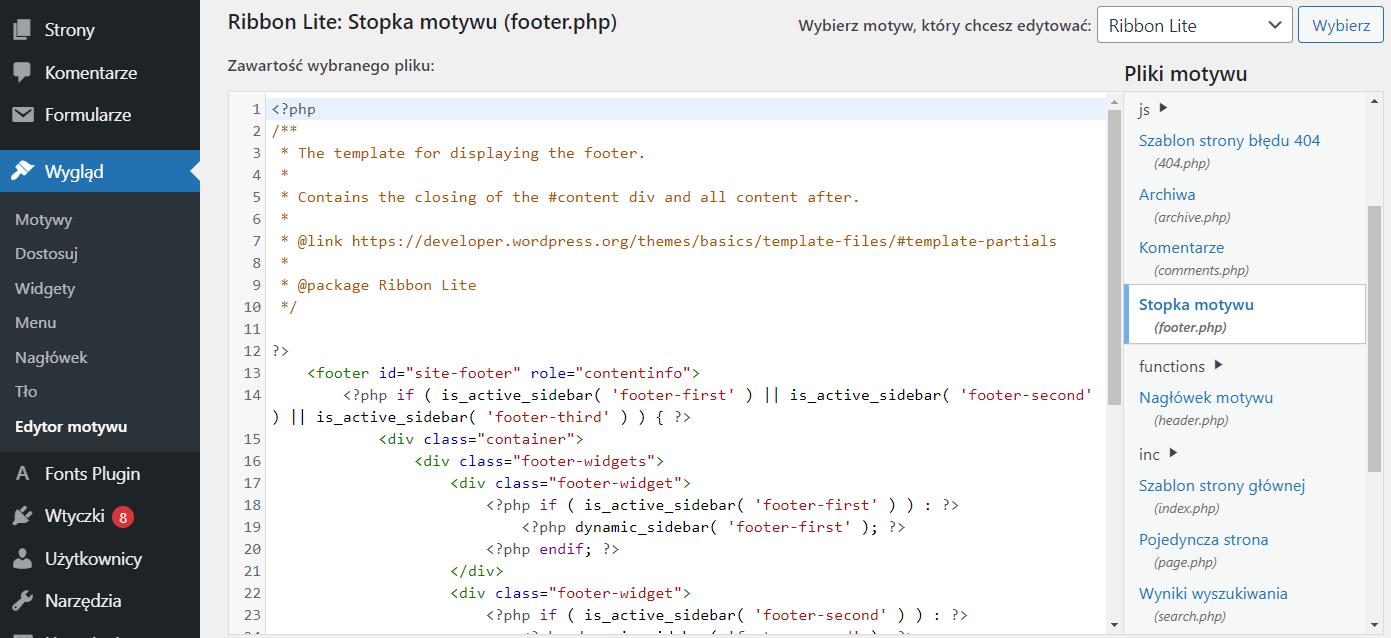 Możesz edytować stopkę motywu edytując plik footer.php